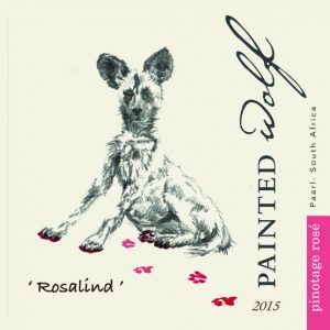 Painted Wolf Pinotage Rose 2015 Hi-Res Label