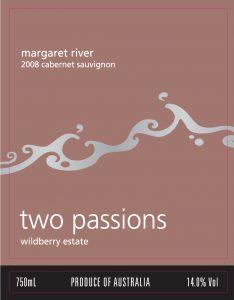 Wildberry Two Passions Cabernet Sauvignon 2008 Hi-Res Label